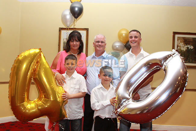 Richard Byrne celebrating his 40th Birthday with his wife Denise and kids Keane, Kyle and Ryan in the Boyne Valley Hotel.Picture: Fran Caffrey/Newsfile.ie