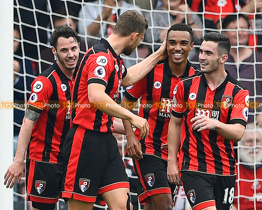 Junior Stanislas of AFC Bournemouth (c) celebrates his goal with team mates during AFC Bournemouth vs Stoke City, Premier League Football at the Vitality Stadium on 6th May 2017