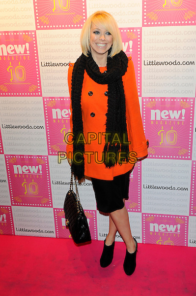 Liz McClarnon.Attends new! Magazine 10th birthday party held at Gilgamesh, Camden, London, England..March 5th, 2013.full length black dress scarf orange coat jacket booties boots shoes shooboots bag purse .CAP/CJ.©Chris Joseph/Capital Pictures.
