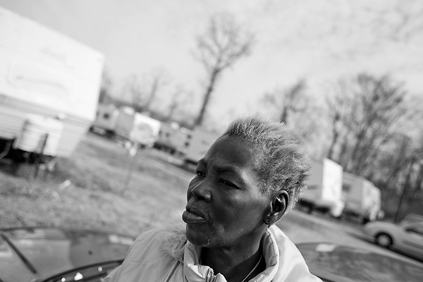 February 02, 2008. Baker, LA.. Renaissance Village trailer park for Louisiana residents displaced by Hurricanes Katrina and Rita. Over 2 years after the storms, hundreds of residents still live in the temporary trailer park, as they search for ways to move out and reestablish their lives.. Gwendolyn Allen, of New Orleans, has lived here since it was set up and takes care of her handicapped brother. She has been unable to find a job and has no one else to help with her brother. FEMA has given her a list of available properties around NOLA, but she does not have the funds to move back without help for her brother. She held her last job as a Burger King manager for 10 years and could have it back, but has no one left to watch her brother.