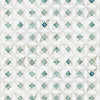 Esmeralda, a hand-cut stone mosaic, shown in polished Ming Green, Cloud Nine, and Thassos.