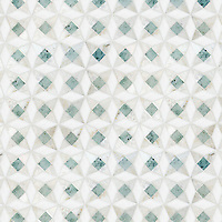 Esmerelda, a hand-cut stone mosaic, shown in polished Ming Green, Cloud Nine, and Thassos.