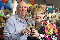 Pictured: David and Penny Bradley at their pub in Aberdare, Wales, UK. Tuesday 24 July 2018<br /> Re: &quot;That's the last time I send him to do the lottery.&quot; David and Penny Bradley who missed out on &pound;50m by one number - but still picked up &pound;350,000.<br /> Pictured at their pub in Aberdare, South Wales