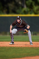 St. Bonaventure Bonnies first baseman T.J. Baker (32) during a game against the Dartmouth Big Green on February 25, 2017 at North Charlotte Regional Park in Port Charlotte, Florida.  St. Bonaventure defeated Dartmouth 8-7.  (Mike Janes/Four Seam Images)