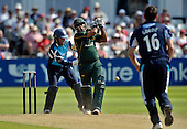 CB40 Cricket - Notts Outlaws V Scottish Saltires - Trent Bridge Nottingham - Notts (and England) batsman Samit Patel hits out on his way to making 82 off 76 balls - Saltires keeper is Craig Wallace - 21.7.12 - 07702 319 738 - clanmacleod@btinternet.com - www.donald-macleod.com