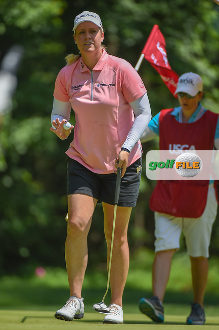 Brittany Lincicome (USA) after sinking her putt on 1 during round 4 of the U.S. Women's Open Championship, Shoal Creek Country Club, at Birmingham, Alabama, USA. 6/3/2018.<br /> Picture: Golffile | Ken Murray<br /> <br /> All photo usage must carry mandatory copyright credit (© Golffile | Ken Murray)