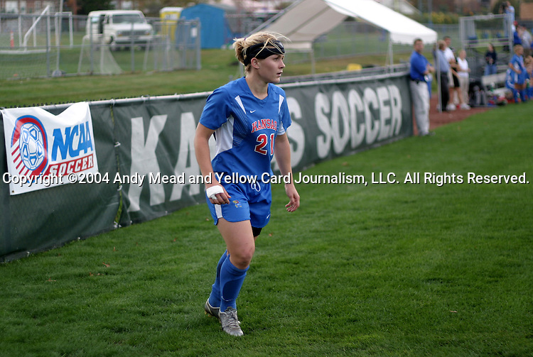 29 October 2004: Caroline Smith takes a corner kick. Kansas defeated Iowa State 4-0 in Lawrence, KS to clinch the Big XII Conference Womens Soccer Championship..