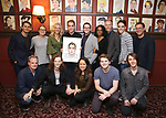 Ben Platt with the cast and company of 'Dear Evan Hansen' attend the Ben Platt Sardi's Portrait unveiling at Sardi's on May 30, 2017 in New York City.