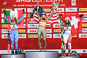 February 5th 2019, Are, Northern Sweden;  ofia Goggia of Italy, Mikaela Shiffrin of USA and Corinne Suter of Switzerland celebrates on the podium in womens super-G after the FIS Alpine World Ski Championships on February 5, 2019