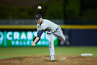 Gwinnett Braves relief pitcher Corbin Clouse (43) delivers a pitch to the plate against the Durham Bulls at Durham Bulls Athletic Park on April 20, 2019 in Durham, North Carolina. The Bulls defeated the Braves 3-2 in game two of a double-header. (Brian Westerholt/Four Seam Images)