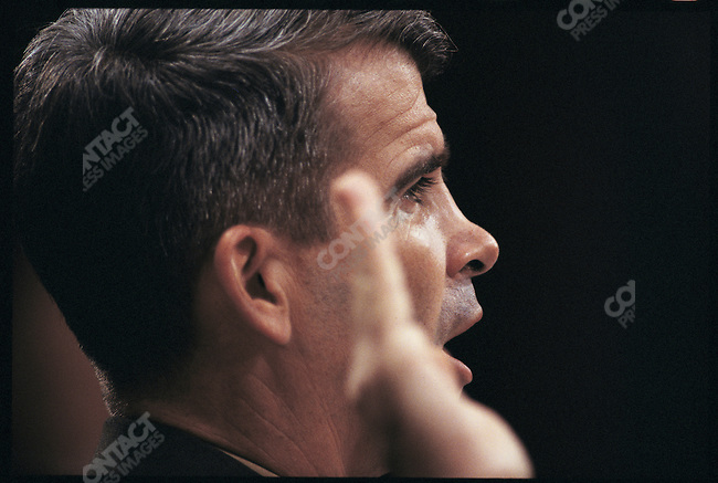Colonel Oliver North at the Iran-Contra congressional hearings. Washington DC, USA, July 1987