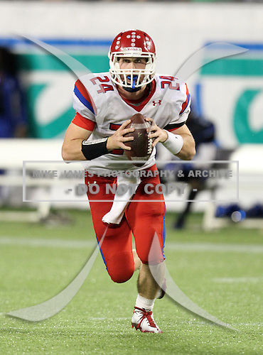Manatee Hurricanes quarterback Cord Sandberg #24 scrambles during the fourth quarter of the Florida High School Athletic Association 7A Championship Game at Florida's Citrus Bowl on December 16, 2011 in Orlando, Florida.  Manatee defeated First Coast 40-0.  (Photo By Mike Janes Photography)