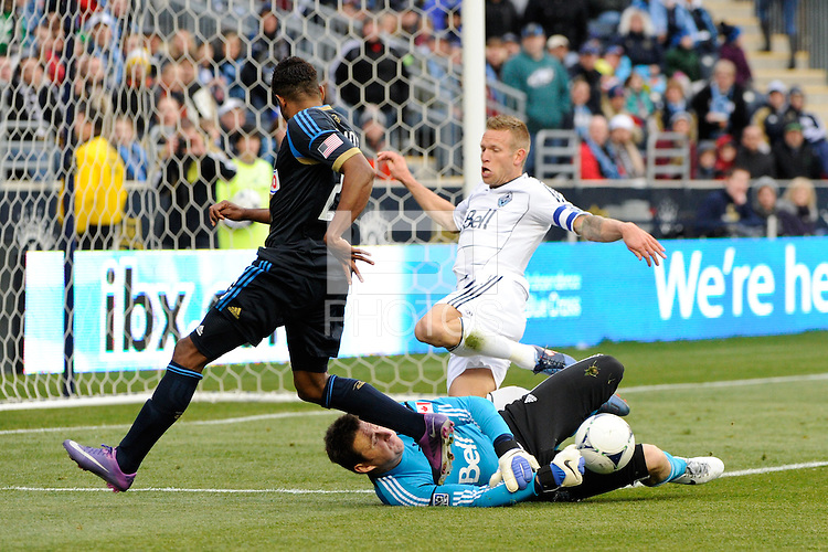Vancouver Whitecaps goalkeeper Joe Cannon (1) denies Lionard Pajoy (23) of the Philadelphia Union during a Major League Soccer (MLS) match at PPL Park in Chester, PA, on March 31, 2012.
