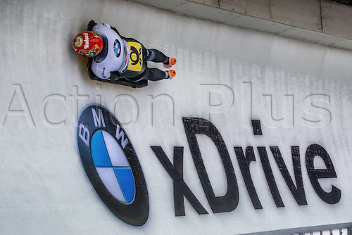 February 24th 2017,  Berchtesgaden - Konigssee, Germany; Action from the Women's Skeleton Runs 1 and 2, Tina HERMANN GER negotiates curve 14