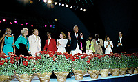 Winston-Salem, North Carolina, USA, May 31, 1991<br /> McLane Steveson introduces Bob Hope and Former President Gerald R. Ford on stage at the annual Bill Crosby Clambake Golf Tournament at the Bermuda Run Country Club. Credit: Mark Reinstein/MediaPunch