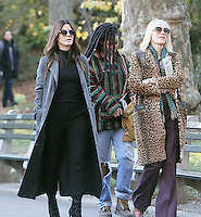 NEW YORK, NY November 07:Sandra Bullock, Rihanna, Cate Blanchett, shooting on location for Ocean 8 in Central Park New York .November 07, 2016. Credit:RW/MediaPunch