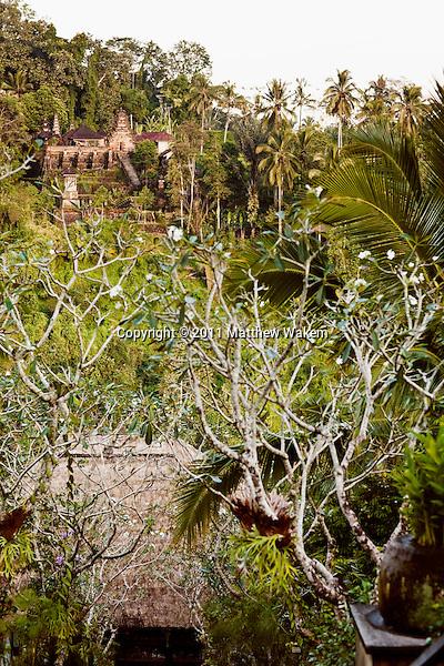 Pura Penataran Dalem Segara temple looks over Ubud Hanging Gardens Resort from across the Ayung River valley, Ubud Hanging Gardens, Bali, Indonesia.