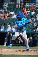 Amarillo Sod Poodles Rodrigo Orozco (12) bats during a Texas League game against the Frisco RoughRiders on May 19, 2019 at Dr Pepper Ballpark in Frisco, Texas.  (Mike Augustin/Four Seam Images)