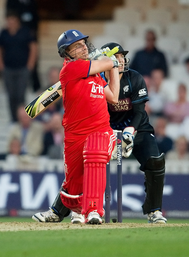 England's Luke Wright hits another boundary in his half century against New Zealand in the first T20<br /> <br />  (Photo by Ashley Western/CameraSport) <br /> <br /> International Cricket - NatWest International T20 Series - England v New  Zealand - Tuesday 25th June 2013 - The Kia Oval, London <br /> <br />  &copy; CameraSport - 43 Linden Ave. Countesthorpe. Leicester. England. LE8 5PG - Tel: +44 (0) 116 277 4147 - admin@camerasport.com - www.camerasport.com
