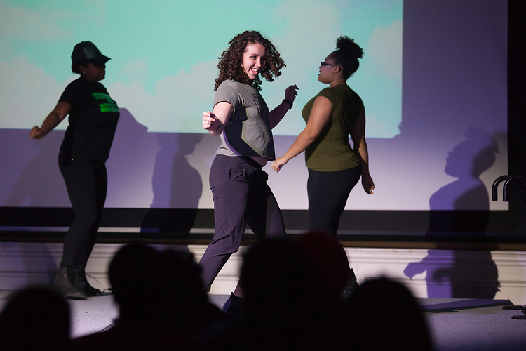 Alexis Reed dances on stage with her group, MarvelOUs Dancers, at the International Women's Day Festival in Baker Ballroom on Sunday, March 19, 2017. © Ohio University / Photo by Kaitlin Owens
