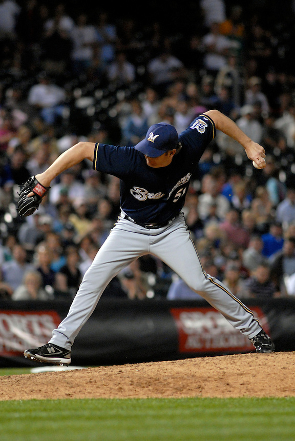 06 June 08: Milwuakee Brewers pitcher Brian Shouse delivers a pitch against the Colorado Rockies. The Rockies defeated the Brewers 6-4 at Coors Field in Denver, Colorado on June 6, 2008. For EDITORIAL use only