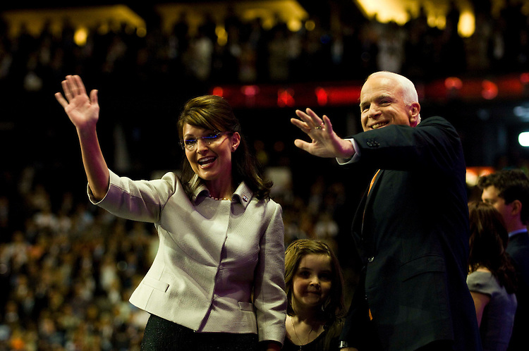 MINNEAPOLIS/ST. PAUL, MN: Sept. 03 --  Gov. Sarah Palin of Alaska and GOP presidential nominee Sen. John McCain (R-Ariz.) wave to the crowd after her speech accepting the vice-presidential nomination at the Republican National Convention on Sept. 3, 2008 at the Xcel Energy Center in St. Paul, Minn. (Scott J. Ferrell / Congressional Quarterly).