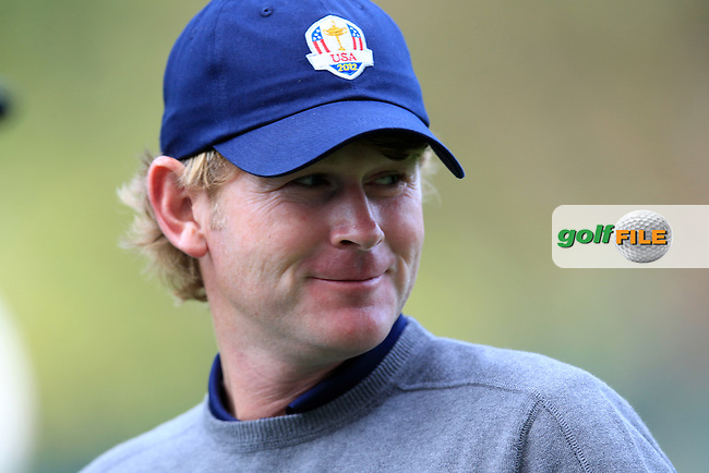 Brandt Snedeker (USA) on the practice range before the USA Team photo shoot during Monday's Practice Day of the 39th Ryder Cup at Medinah Country Club, Chicago, Illinois 25th September 2012 (Photo Eoin Clarke/www.golffile.ie)
