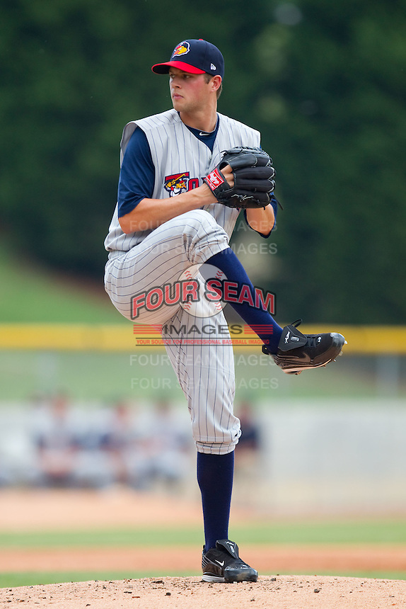 Starting pitcher Andrew Oliver #41 of the Toledo Mudhens in action against the Charlotte Knights at Knights Stadium August 8, 2010, in Fort Mill, South Carolina.  Photo by Brian Westerholt / Four Seam Images