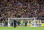 Solna 2014-05-05 Fotboll Allsvenskan AIK - Helsingborgs IF :  <br /> AIK:s spelare jublar med AIK:s supportrar p&aring; Norra st&aring;plats i Friends Arena efter matchen<br /> (Foto: Kenta J&ouml;nsson) Nyckelord:  Friends Arena AIK Gnaget HeIF HIF Helsingborg supporter fans publik supporters jubel gl&auml;dje lycka glad happy