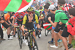 Adam Yates leads brother race leader Simon (GBR) Mitchelton-Scott up the final climb during Stage 17 of the La Vuelta 2018, running 157km from Getxo to Balcón de Bizkaia, Spain. 12th September 2018.                   <br /> Picture: Unipublic/Photogomezsport | Cyclefile<br /> <br /> <br /> All photos usage must carry mandatory copyright credit (© Cyclefile | Unipublic/Photogomezsport)