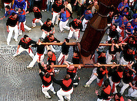 Gubbio 15 MAY 2004..Festival of the Ceri..The run of the Ceri of the afternoon..The Cero St Anthony in Via dei Consoli ....http://www.ceri.it/ceri_eng/index.htm..