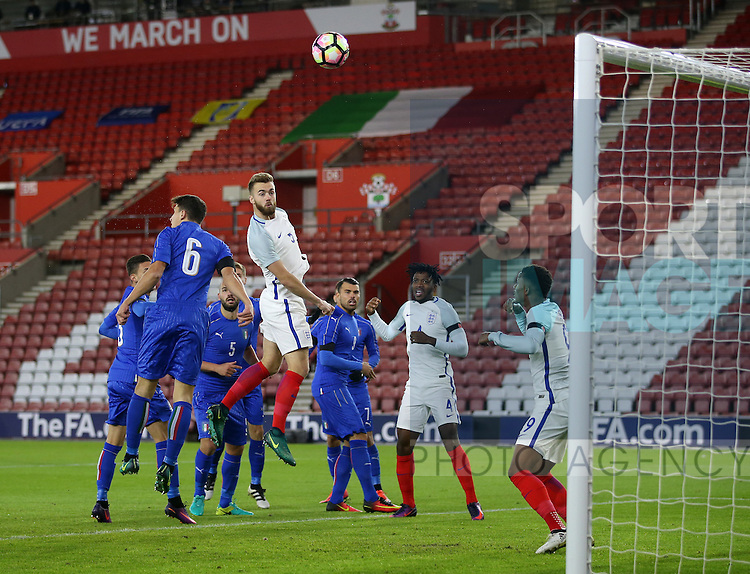England's Callum Chambers puts his header over the bar during the Under 21 International Friendly match at the St Mary's Stadium, Southampton. Picture date November 10th, 2016 Pic David Klein/Sportimage