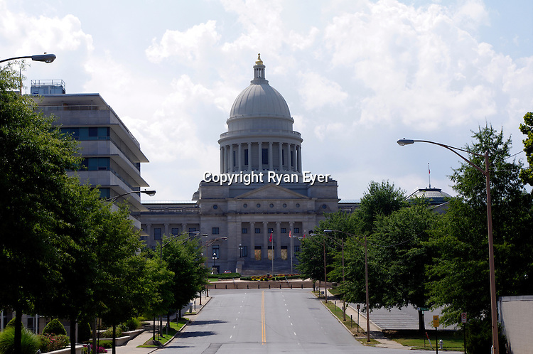 LITTLE ROCK, AR - 1 August 2010 - Arkansas State Capitol Building, located in Little Rock, is the seat of government of the state of Arkansas. Construction took 16 years - from 1899 to 1915. The Capitol was built on the site of the state penitentiary and prisoners helped construct the building. Picture: Ryan Eyer/Allied Picture Press