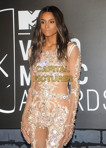 Ciara (Ciara Princess Harris)<br /> 2013 MTV Video Music Awards held at The Barclays Center, Brooklyn, New York, USA.<br /> August 25th, 2013<br /> half length white silver sheer feather sheer embellished jewel encrusted see through thru dress VMA VMAS <br /> CAP/ADM/MPI/C99<br /> &copy;C99/MPI/AdMedia/Capital Pictures