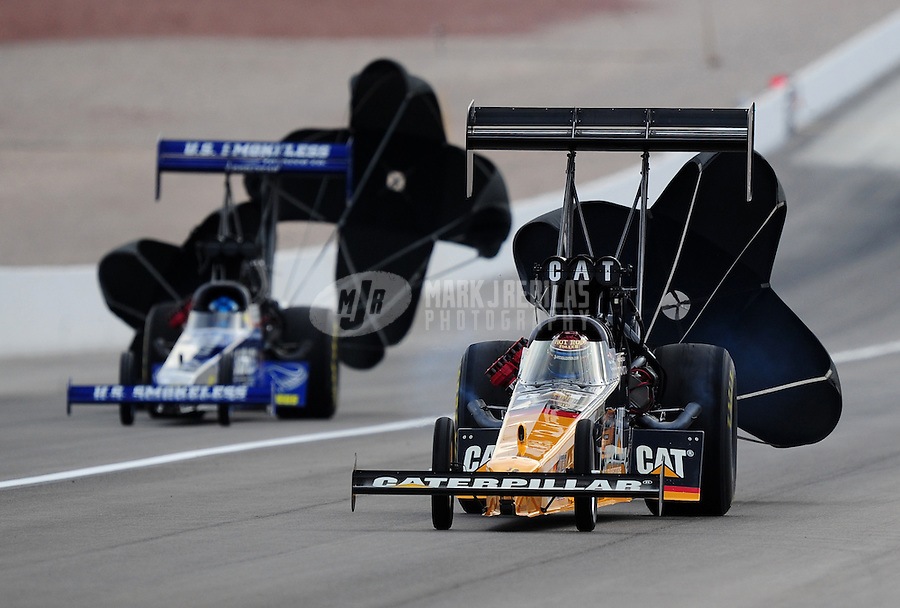 Nov. 1, 2008; Las Vegas, NV, USA: NHRA top fuel dragster driver Rod Fuller (right) during qualifying for the Las Vegas Nationals at The Strip in Las Vegas. Mandatory Credit: Mark J. Rebilas-