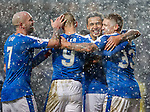 Martyn Waghorn and Kenny Miller celebrate after the fourth goal