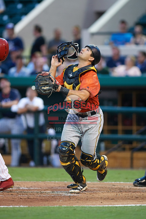 Bradenton Marauders catcher Christian Kelley (7) keeps his eye on a popup foul ball during the Florida State League All-Star Game on June 17, 2017 at Joker Marchant Stadium in Lakeland, Florida.  FSL North All-Stars  defeated the FSL South All-Stars  5-2.  (Mike Janes/Four Seam Images)