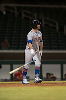 Scottsdale Scorpions first baseman Peter Alonso (20), of the New York Mets organization, admires his home run during an Arizona Fall League game against the Mesa Solar Sox at Sloan Park on October 10, 2018 in Mesa, Arizona. Scottsdale defeated Mesa 10-3. (Zachary Lucy/Four Seam Images)