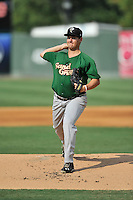 Pitcher Ricky Knapp (11) of the Savannah Sand Gnats delivers a pitch in a game against the Greenville Drive on Saturday, September 5, 2015, at Fluor Field at the West End in Greenville, South Carolina. (Tom Priddy/Four Seam Images)