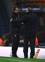 Blackburn Rovers' Manager Tony Mowbray shakes hands with Brentford's Manager Thomas Frank after the game<br /> <br /> Photographer Dave Howarth/CameraSport<br /> <br /> The EFL Sky Bet Championship - Blackburn Rovers v Brentford - Wednesday 27th November 2019 - Ewood Park - Blackburn<br /> <br /> World Copyright © 2019 CameraSport. All rights reserved. 43 Linden Ave. Countesthorpe. Leicester. England. LE8 5PG - Tel: +44 (0) 116 277 4147 - admin@camerasport.com - www.camerasport.com