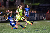 Boston, MA - Saturday April 29, 2017: Allysha Chapman and Rebekah Stott during a regular season National Women's Soccer League (NWSL) match between the Boston Breakers and Seattle Reign FC at Jordan Field.