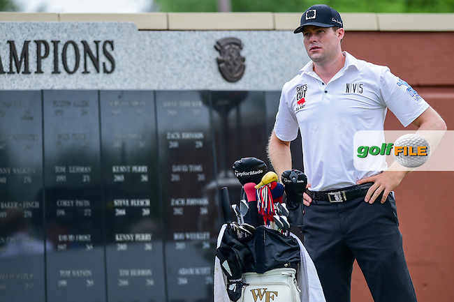 Kyle Reifers (USA) stands near the Wall of Champions on the number 1 tee during the round 3 of the Dean &amp; Deluca Invitational,  Colonial Country Club, Ft. Worth, Texas, USA. 5/28/2016.<br /> Picture: Golffile | Ken Murray<br /> <br /> <br /> All photo usage must carry mandatory copyright credit (&copy; Golffile | Ken Murray)