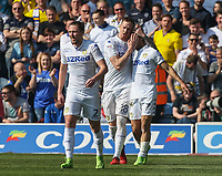 Leeds United's Kemar Roofe celebrates scoring his sides first goal with Pontus Jansson<br /> <br /> Photographer Alex Dodd/CameraSport<br /> <br /> The EFL Sky Bet Championship - Leeds United v Preston North End - Saturday 8th April 2017 - Elland Road - Leeds<br /> <br /> World Copyright &copy; 2017 CameraSport. All rights reserved. 43 Linden Ave. Countesthorpe. Leicester. England. LE8 5PG - Tel: +44 (0) 116 277 4147 - admin@camerasport.com - www.camerasport.com