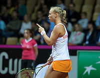 Arena Loire,  Trélazé,  France, 16 April, 2016, Semifinal FedCup, France-Netherlands, Kiki Bertens (NED) takes the first set<br /> Photo: Henk Koster/Tennisimages