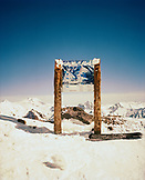 ARGENTINA, Bariloche, Andes, sign board on snow-capped mountain at the Cerro Cathedral.