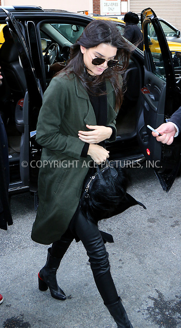 WWW.ACEPIXS.COM<br /> <br /> February 11 2016, New York City<br /> <br /> Model Kendall Jenner arriving at a downtown hotel on February 11 2016 in New York City<br /> <br /> By Line: Zelig Shaul/ACE Pictures<br /> <br /> <br /> ACE Pictures, Inc.<br /> tel: 646 769 0430<br /> Email: info@acepixs.com<br /> www.acepixs.com