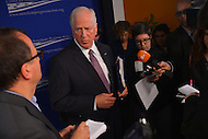 January 14, 2013  (Washington, DC)  Rep. Mike Thompson (D-CA) (center) speaks to the media after a gun violence forum sponsored by the Center for American Progress in Washington. (Photo by Don Baxter/Media Images International)