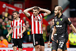 Jack O'Connell of Sheffield Utd reacts following his goal bound blocked shot during the Premier League match at Bramall Lane, Sheffield. Picture date: 7th March 2020. Picture credit should read: Simon Bellis/Sportimage