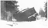 Leased D&amp;RGW K-27 #464 derailed near Gradens, west of Mancos.<br /> RGS  Gradens, CO  Taken by Croonenberghs, Leo - 11/10/1949
