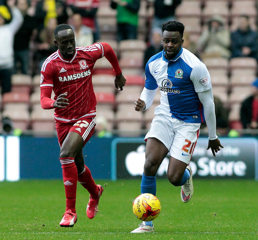 Blackburn Rovers' Hope Akpan gets away from Middlesbrough's Albert Adomah<br /> <br /> Photographer David Shipman/CameraSport<br /> <br /> Football - The Football League Sky Bet Championship - Middlesbrough v Blackburn Rovers - Saturday 6th February 2016 - Riverside Stadium - Middlesbrough <br /> <br /> &copy; CameraSport - 43 Linden Ave. Countesthorpe. Leicester. England. LE8 5PG - Tel: +44 (0) 116 277 4147 - admin@camerasport.com - www.camerasport.com